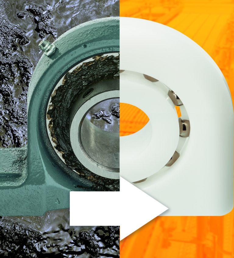 ¡Olvídese de la lubricación! Los rodamientos plásticos de bolas igus tipo pedestal sustituyen a las soluciones metálicas